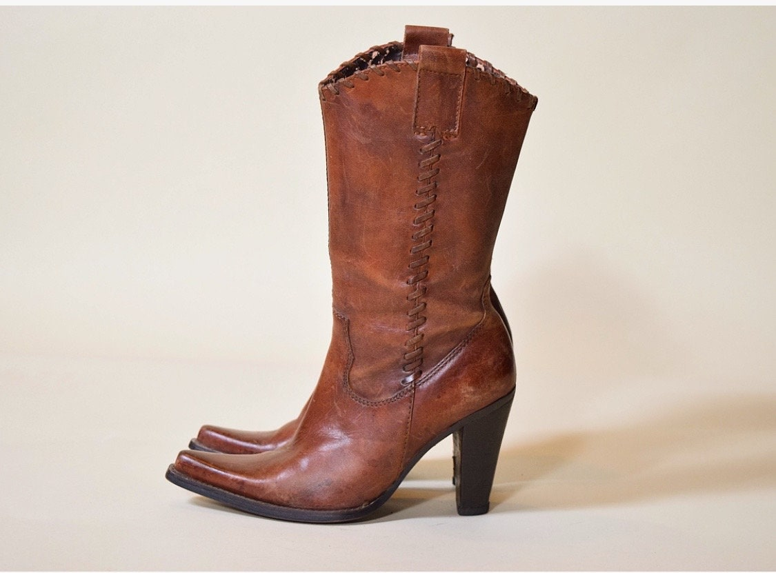 478725270d2 Vintage Steve Madden brown leather Saloon boots/side zip up ...
