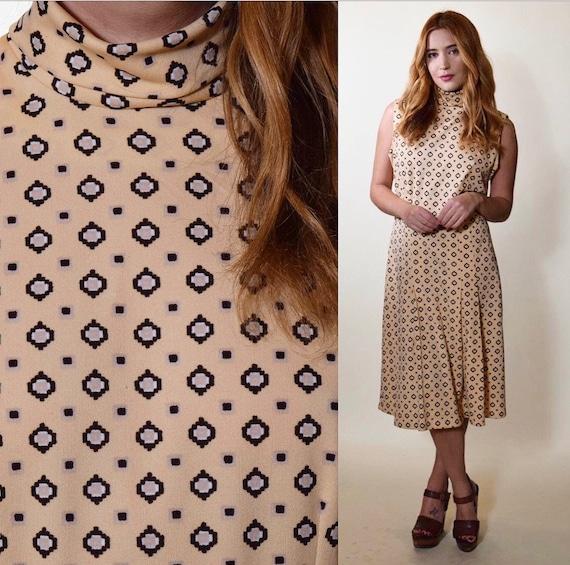 1970s authentic vintage mock turtleneck sleeveless drop waist pleated dress women's size medium