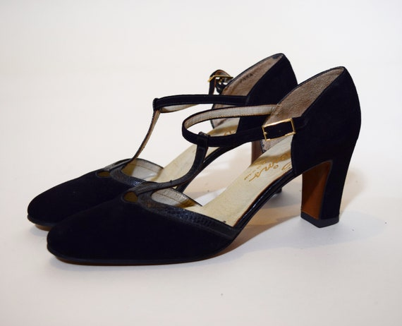 """Authentic vintage classic black suede+ leather tone l Mary Jane style with Chunky 2.5"""" block heels women's US size 7.5"""
