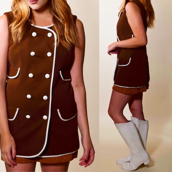 1960s authentic vintage brown polyester sleeveless mod mini tunic with white double breasted buttons + trim women's size small