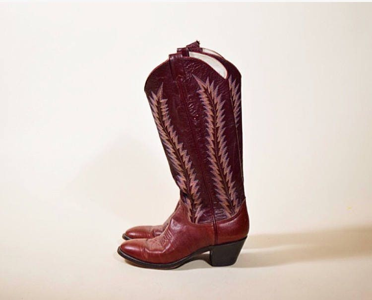 59819f8a3ec Authentic vintage 1970's Larry Mahan tall wine color cowboy boots ...