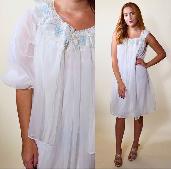 1950s vintage 2 piece white + blue nightie + robe peignoir sheer chiffon set Marvelous Mrs Maisel inspired women's size Small