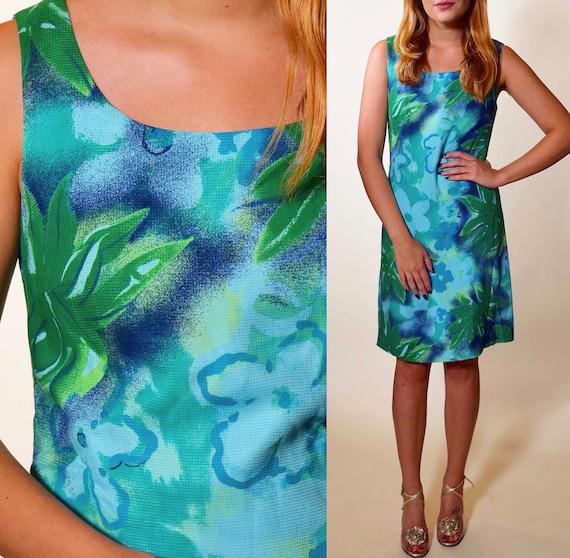 Vintage aqua teal blue Hawaiian floral mini sleeveless dress women's size small