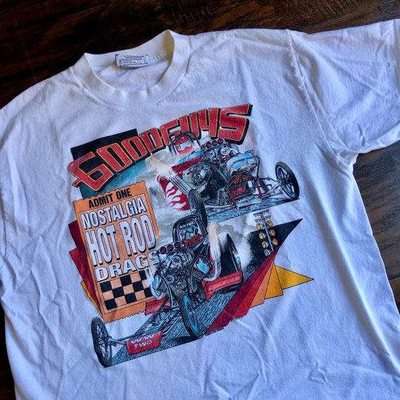 Authentic vintage 1990s Good Guys Nostalgia Hot Rod Drags lee brand graphic tee shirt unisex Large