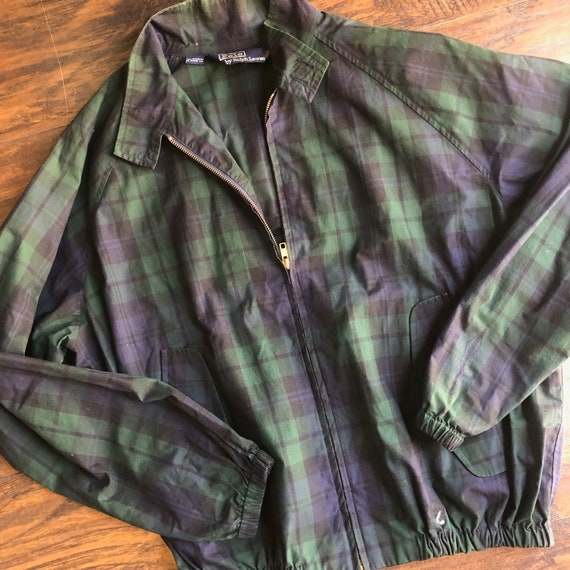 1980s Polo by Ralph Lauren checkered green + navy… - image 1