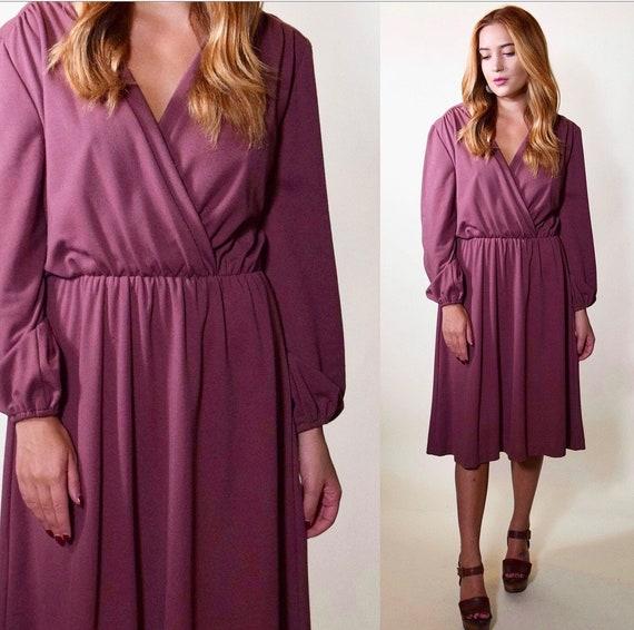 1970s Mauve purple disco wrap style mid length dress women's size medium