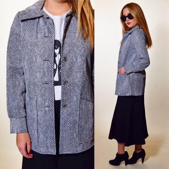 Vintage snakeskin pattern polyester button down collared jacket / blazer women's size medium