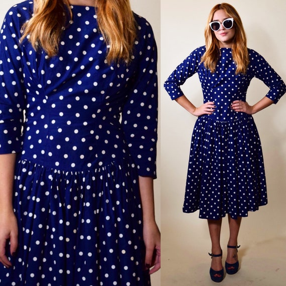 1950s-1960s vintage rockabilly style blue + white polka dot I Love Lucy style long sleeve midi dress women's size Small