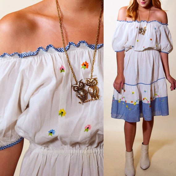 1970s authentic vintage floral embroidered + gingham off the shoulder peasant midi dress women's size small-medium