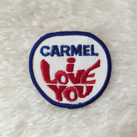 "Authentic vintage 1970's "" Carmel I Love You "" hippie retro souvenir travel patch"