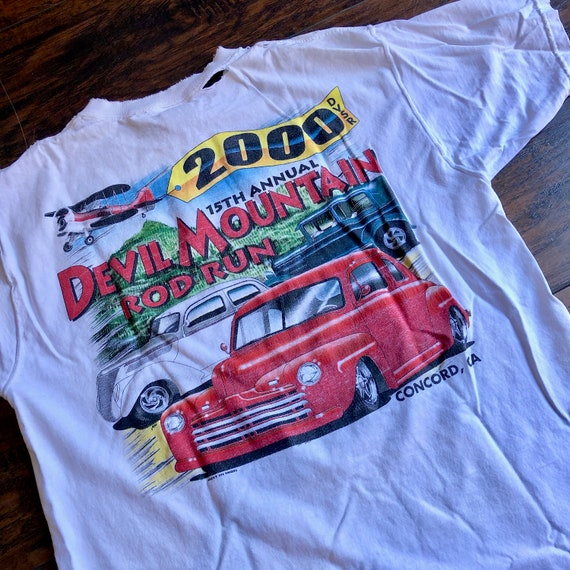 Authentic vintage Devil Mountain Rod Run distressed graphic tee shirt unisex Large