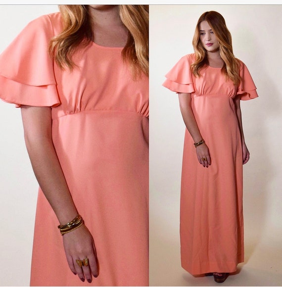 1970s authentic vintage peach ruffle butterfly sleeve polyester maxi dress women's size Small-Medium