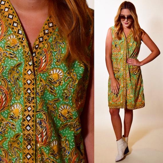 1970's Hilda Originals green paisley patterned sleeveless cotton dress women's size small-medium