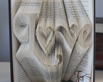 Folded Book Art - Love - Book Sculpture - Unique - Book Folding - Anniversary - Valentine - Birthday - Wedding Decor - For Him & Her - Heart