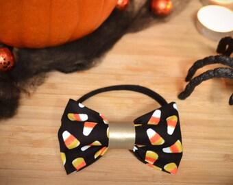 Candy corn bow, Halloween costume headband, candy corn hair bow set, halloween outfit,  fabric bow set on headband , candy corn hair clip