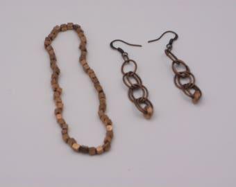 Copper Earring and Bracelet Set