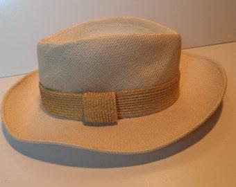 5c2b418b2770b Vintage Frank Olive fedora   Designer wide brim boho vintage woven cream  straw summer hat   Size small womens
