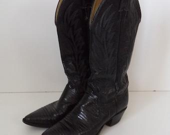 3529f42de3327 Black leather vintage cowboy boots   Boho western tall   Womens size 5 USA