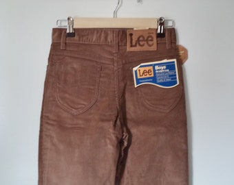 2cb8b3cf 70s 80s LEE Rider corduroy pants / Dead stock new with tags NWT vintage/  Western boyfriend straight hipster tan/ Women XS 2 unisex kids 14