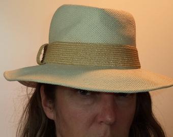 Vintage Frank Olive fedora   Designer wide brim boho vintage woven cream straw  summer hat   Size small womens cdf67b3cdb6a