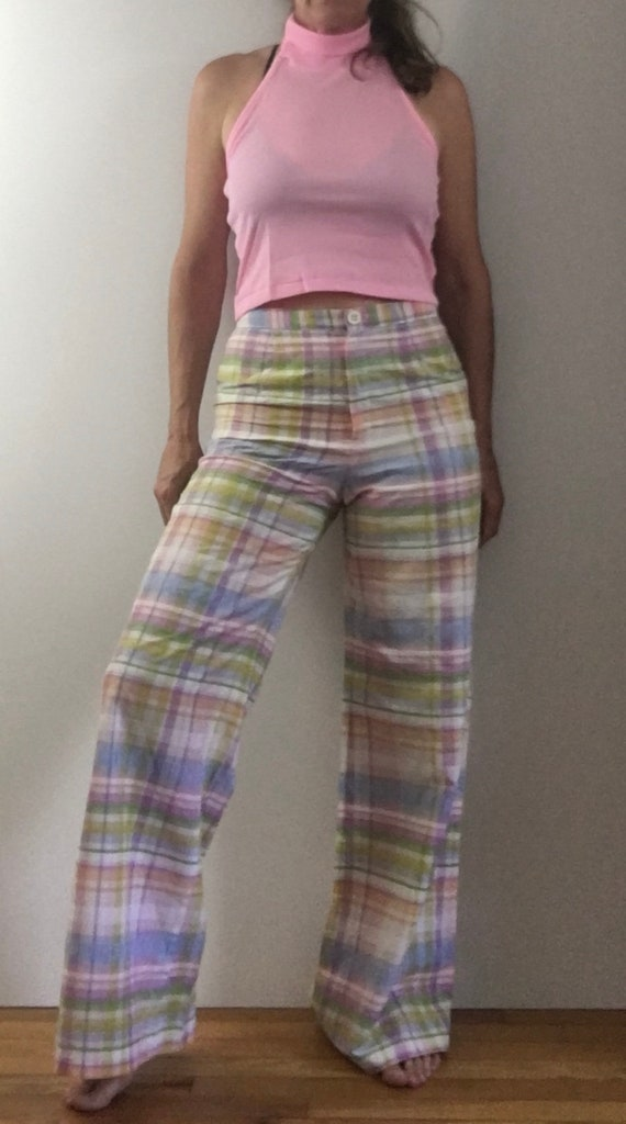 1970s bell bottom high waist plaid pants wide leg