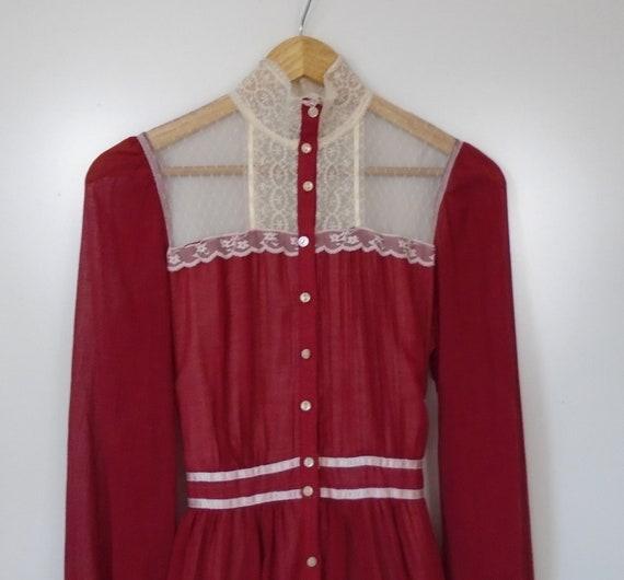 70s Gunne Sax prairie dress high neck lace wine re