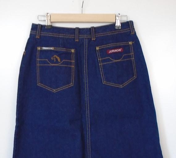 80s Jordache horse embroidered blue jean skirt hig