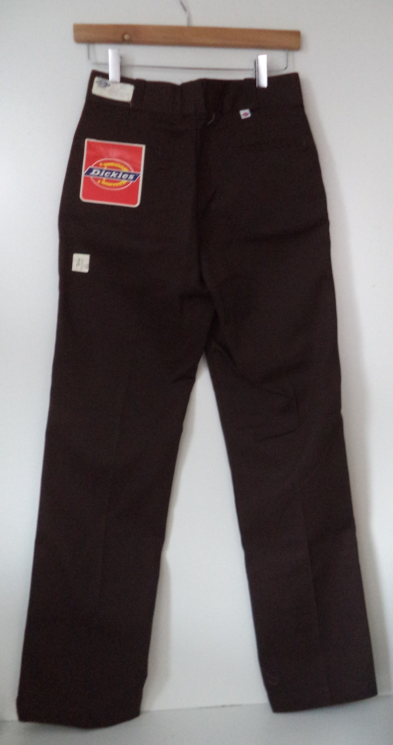 1970s 1980s high waist Dickies USA deadstock new with tags brown utility work mechanic rockabilly youth 18 XL women small 456 small 27 28
