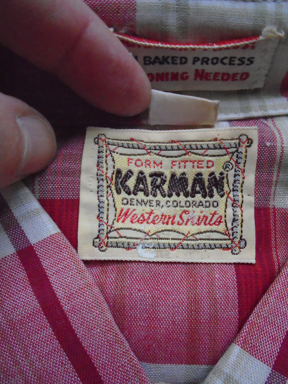 1970s Mens Shirt Styles – Vintage 70s Shirts for Guys New 1970S Red Plaid Western Shirt Old Stock Vintage Karman Denver Colorado Rockabilly Ranch Cowboy Button Down Hipster Mens Medium $0.00 AT vintagedancer.com