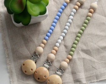 Silicone Pacifier Clip, Silicone Beads Wood Beads Chew Beads