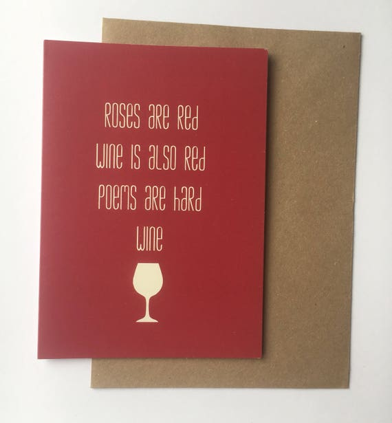 Roses Are Red Wine Is Red Anti Valentines Day Card Best Friends