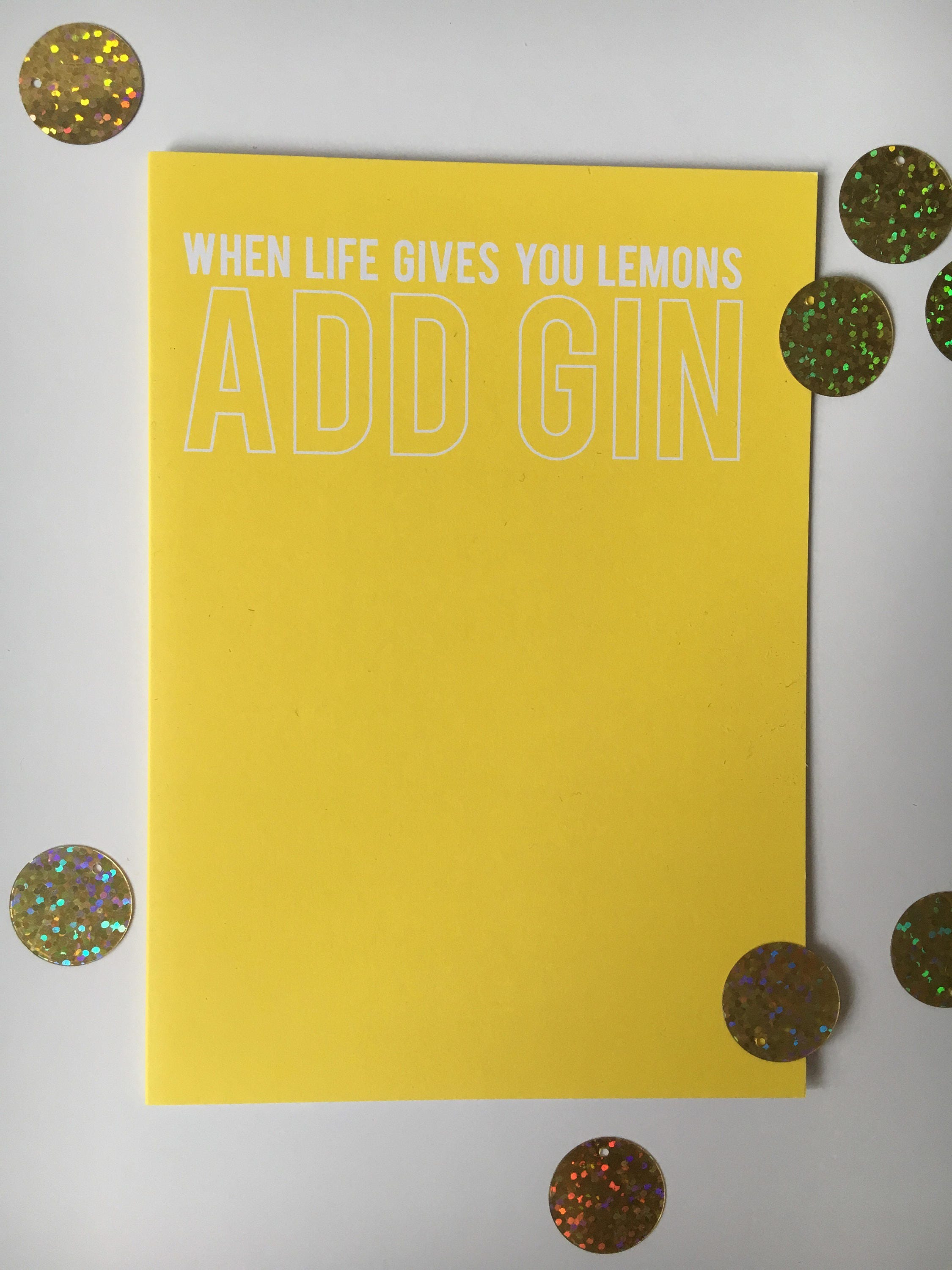 When Life Gives You Lemons Add Gin Card Etsy