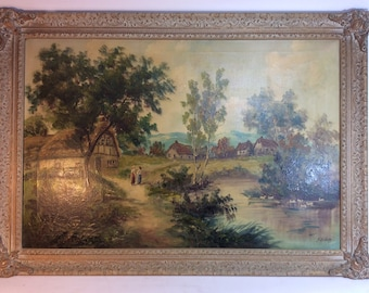 Vintage oil texture scenery 2 women oil on canvas 41in. x 29in
