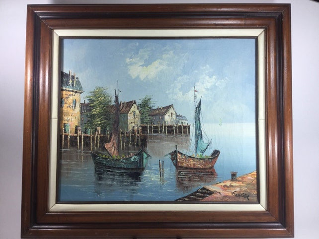 Vintage Garber aceite pintura puerto barco casa madera marco   Etsy