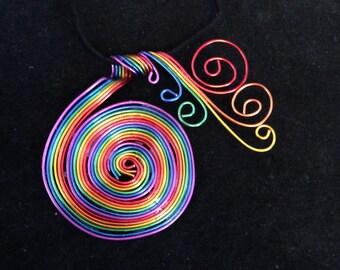 Rainbow Twist Pendant Necklace