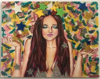 Let it Rain.  Mixed Media, Acrylic, Glitter, Pop Art, Pop Culture, Southern Charm