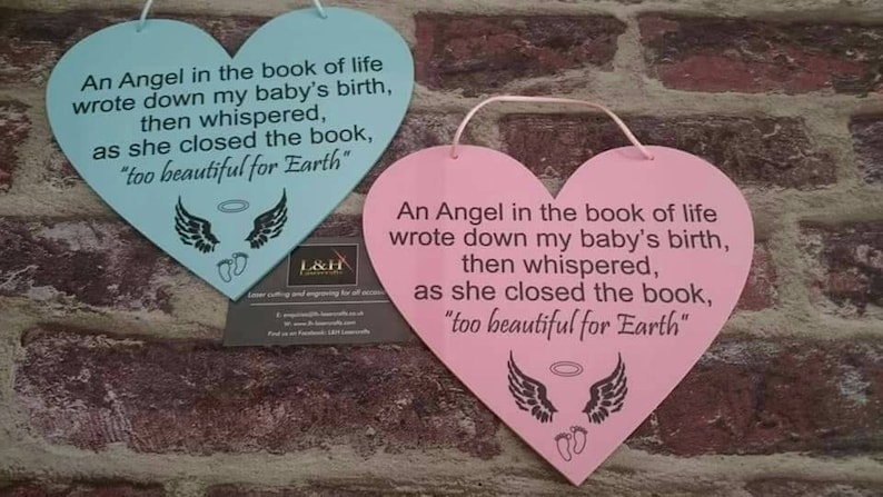 Baby Birth Death Hanging Heart Angel In The Book Of Life Etsy