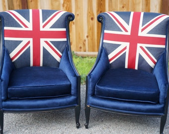 Union jack furniture Painted Furniture Vintage Union Jackbritish Chairs Custom Order Etsy Union Jack Furniture Etsy