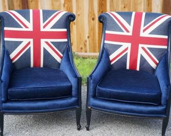 Union jack furniture Painted Furniture Vintage Union Jackbritish Chairs Custom Order Etsy Union Jack Furniture Etsy