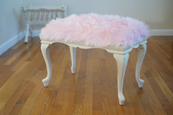Swell French Style Pink Fur Ottoman Andrewgaddart Wooden Chair Designs For Living Room Andrewgaddartcom
