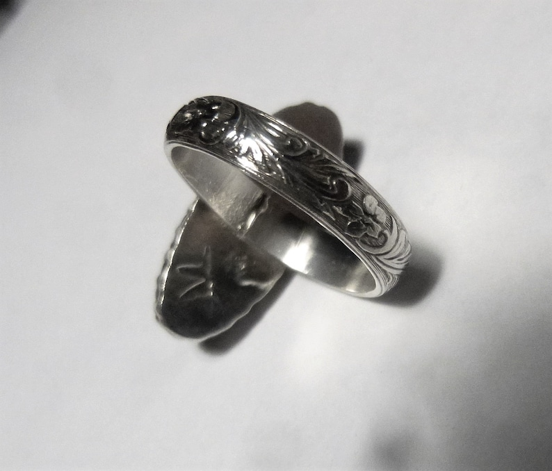 Tiger/'s Eye Sterling Silver Fancy Bezel Floral Band Ring Size 6 12 by SmithSilver
