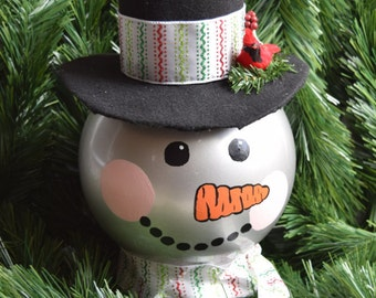Extra Large Snowman w/ Top Hat Tree Topper or Center Piece, Holiday Decor, Christmas Decoration, Green and Pink Glitter Ribbon, Giftable