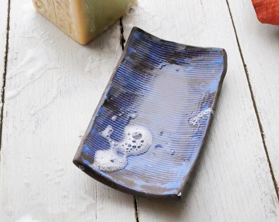 Indigo Patterned Rectangle Soap Dish