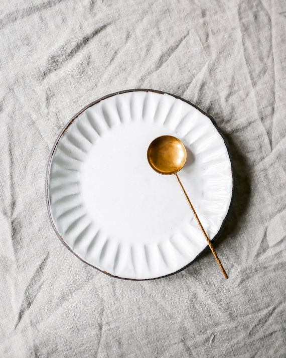 Fluted Dessert Plate in Azure + Brilliant White