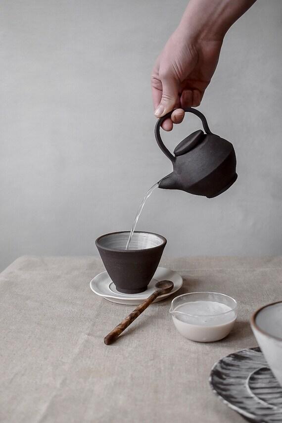 Set #1 Chocolate Stoneware Teapot, Teacup, + Porcelain Saucer