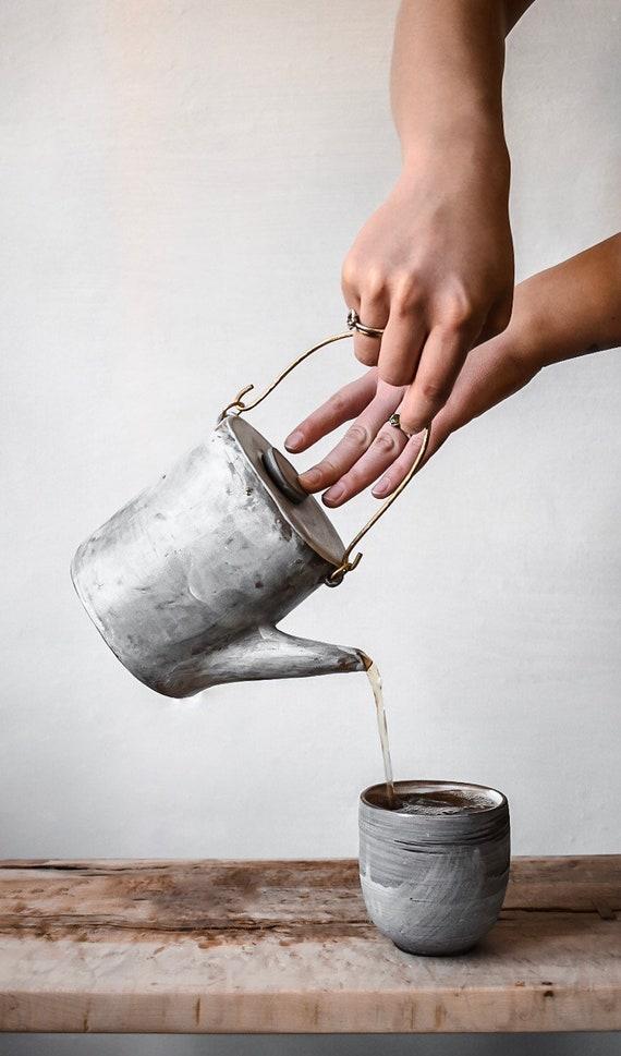Brass + Stoneware Hakeme Teapot