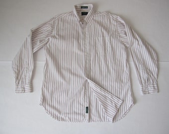0692094ab745b Vintage Gitman Bros All Imported Cotton Stripes Front Button Long Sleeve  Button Size 16.5-35 (Made in USA)