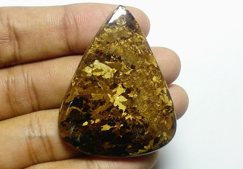 Brownzite Pierre, qualité supérieure Brownzite, brownzite irisees, cabochons taille en brownzite, 93.05cts taille cabochons 48x37x5mm Pierre à la main 96990c