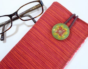 Glasses Case, Eyeglass Case, Reading Glasses Case, Sunglass Case, Gift under 15, Cloth Fabric Glasses Case, Eclectic Boho Style, Red Orange