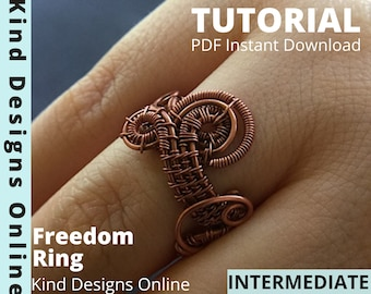 Freeform Ring Tutorial Wire Ring Tutorial Jewelry Tutorial Wire Weave Tutorial Intermediate Wire wrapping Ring Instruction for wire jewelry